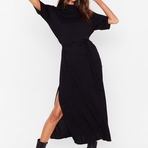 Nasty Gal Belted Midi Skirt with high slit